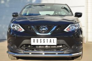 Nissan Qashqai 2014- Защита переднего бампера d63 (секции) d42 (дуга) NQQZ-001787
